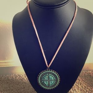 Jewelry - Imitation suede chain with blue tone pendant